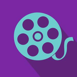 blue movie reel over purple background