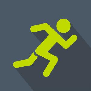 Green Stick figure Running over black background