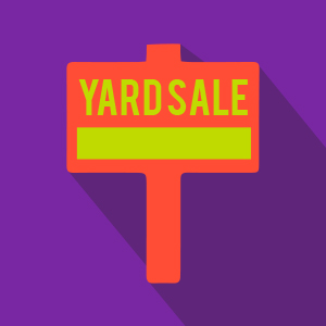 Red/Yellow Yard Sale Sign Over Purple Background