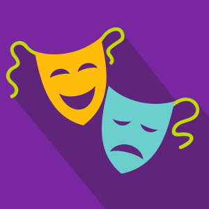 Yellow Happy Mask and Blue Sad mask over purple background