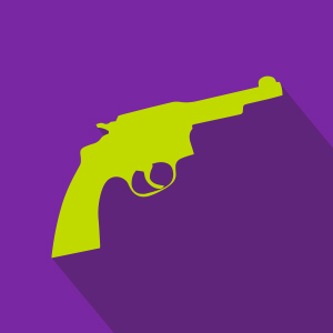 Lime green gun over purple background