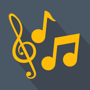 Yellow Music Notes over black background