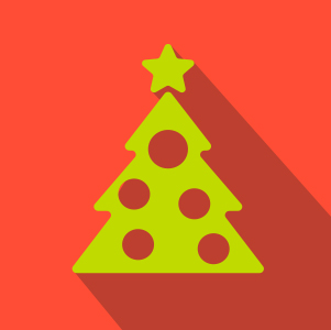 Lime Green Christmas Tree over Red background