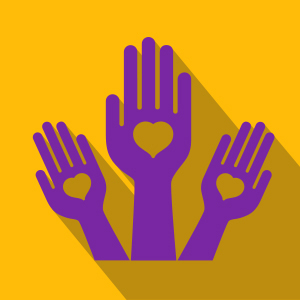 Three Purple Hands with heart on palms, with golden background