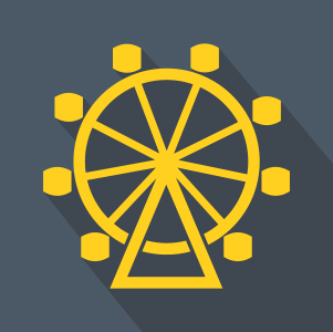 Gold Farris Wheel over grey background