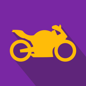 Yellow Motorcycle over Purple Background